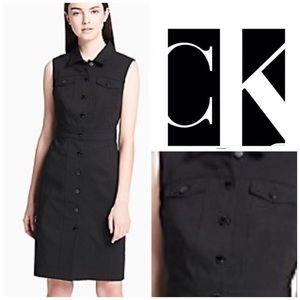 🌺Calvin Klein Navy Blue Sleeveless Shirt Dress.